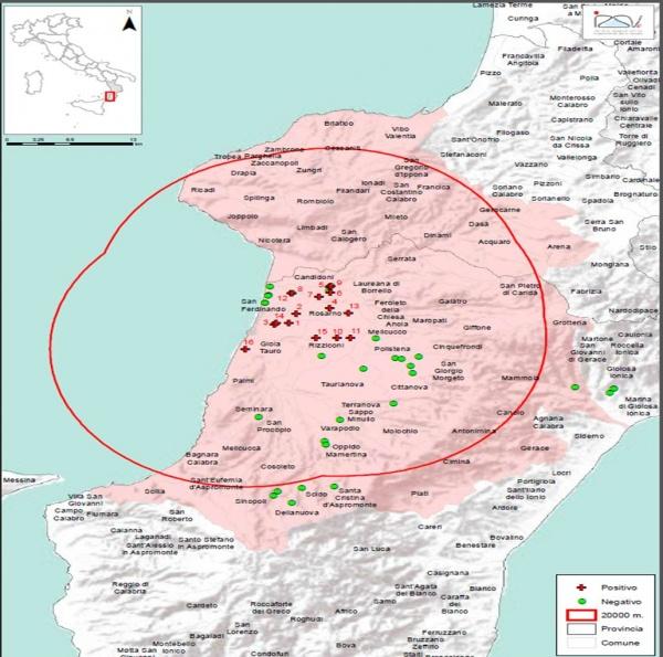 Points rouge: localisation des foyers d'infestation par A. tumida en Italie (02/10/2014)