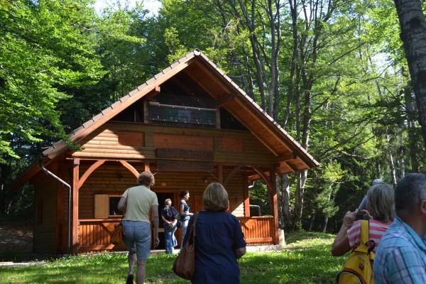 La station d'élevage, avec en haut les ruches à mâles, hors de portée des ours