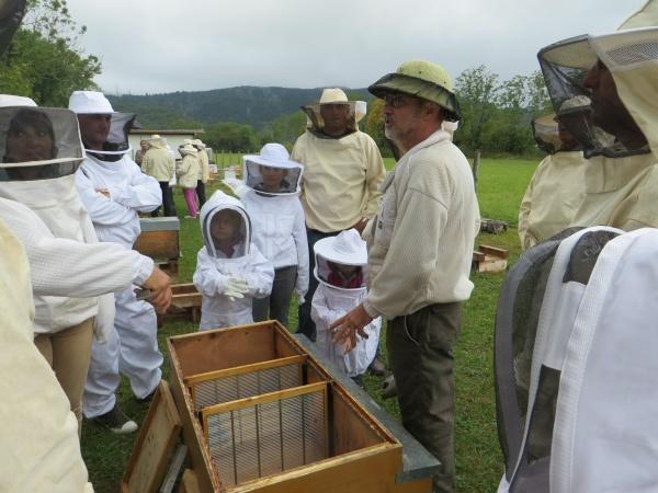 Les explications du fonctionnement de la ruche d'élevage, avec quelques uns des futurs adhérents de la section apicole du Haut Bugey